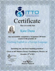ITTO Certificate TEFL